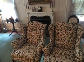 Two Upholstered arm chairs, one Queen Anne the other Chippendale