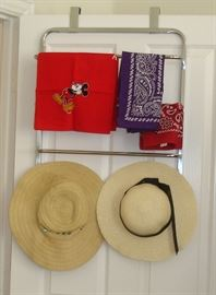 Towel holder, bandannas, straw hats