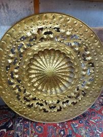 Large Italian brass wall plaque with great patina