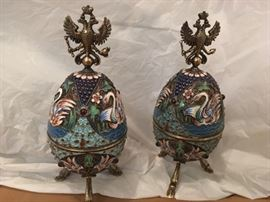 Russian Faberge Inspired Enamel Eggs