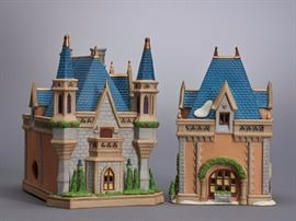 Offered is a hand painted set from Department 56. The box is not included and the styrofoam is dirty. One of the shrubs is broken off of the piece. This item is sold as-is. See more photos at completeset.com.