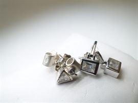2 Pair 925 Silver  Gemstone Earrings
