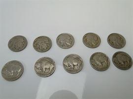 10 Buffalo Nickels
