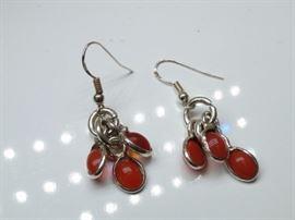 925 Silver Amber Dangle Earrings