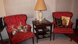 Pr. Pretty Vintage 40's Mahogany Chairs w/ Original Upholstery in good condition