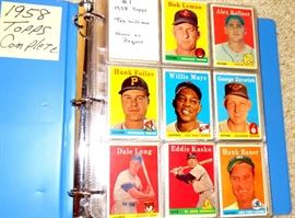 1958 TOPPS BASEBALL CARDS, COMPLETE, NO HIGH CARDS