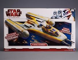 Offered is a Star Wars Y-Wing Bomber. New in box. Box shows normal shelf wear. Please see photos at completeset.com for more details.