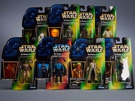 Offered is a lot of 8 Star Wars figures from The Power of the Force II line. Most of the cards are very bent and damaged, and the bubbles are dented. Some of the cards have been cut on the bottom corners to remove the barcode. Please see the photos at completeset.com for details.