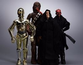 "Offered is a lot of four 12"" Star Wars figures: Chewbacca, C-3PO, Emperor Palpatine, and Darth Maul. They are unboxed but in good condition. Please see the photos at completeset.com for details."