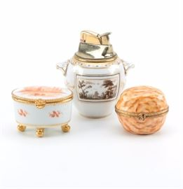 Limoges Trinket Boxes and Richard Ginori Porcelain Refillable Lighter   https://www.ebth.com/items/7388545-limoges-trinket-boxes-and-richard-ginori-porcelain-refillable-lighter