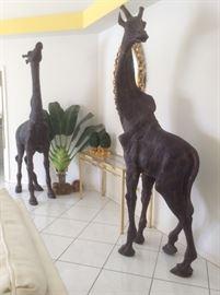 (2) 8' African bronze giraffes