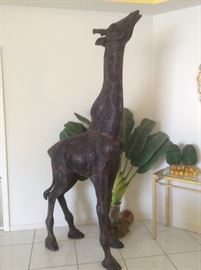 Very old bronze giraffes from Africa