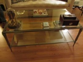 ETHAN ALLEN COFFEE TABLE! BRUSHED NICKEL AND BEVELED GLASS! ELEGANT AND CLASSIC-MODERN FLAIR