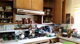 Tons of dishes, cookware, bakeware, Pyrex, Corning, Hall. All priced way low!