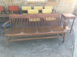 Antique Oak Hall Bench.