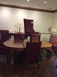 Dining table by Drexel.   Eight dining room chairs.....todays style!!!