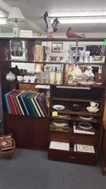 Vintage shelving and items on shelves