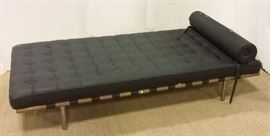 """Mies van der Rohe Barcelona Style Daybed. Solid wood frame with chrome legs, leather straps, leather cushion and pillow. 77"""" long, 37.5"""" wide. Was from a smokers house, cigarette odor."""