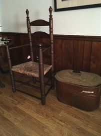 Pilgrim chair, copper boiler
