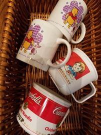Campbells and Pooh mugs