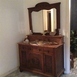 Marble top wash vanity/dresser.