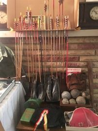 Vintage  catcher mitt, baseballs, pads, archery bows and arrows in Original Boxes- Vintage Russian Hats and Boy Scouts!