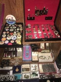 Vintage Jewelry- Men's Cufflinks and Tie Pins /Clips, Vintage Pinback Buttons.