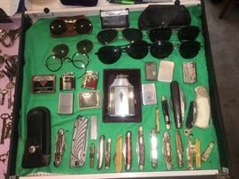 Knives, lighters, glasses
