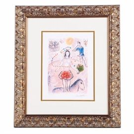 "Limited Edition Giclee After Marc Chagall ""Dancer And Flutist"": A limited edition giclee print after Marc Chagall's (1887-1985) Dancer and Flutist. This image depicts a female dancer on stage with a bouquet of flowers, near a small horse, a flutist in blue, a trapeze swinger, and several other performers. A seated audience in a theater with a balcony are visible in the background. There is a facsimile signature reading ""Marc Chagall"" in the lower right, and the work is numbered ""XLII/CCLXXV"", or 42 in an edition of 275, in graphite by an unknown hand in the lower left. An in-plate copyright in the lower left reads ""Leon Amiel 2003"". The print is presented under glass with a white mat and gold tone liner in a gold tone wood and gesso frame with oak leaf motif. A certificate of authenticity is mounted to the verso along with a hanging wire."