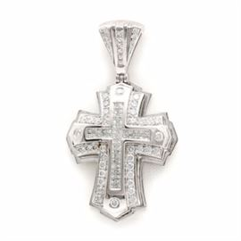 "14K White Gold 3.67 CTW Diamond Cross Pendant: A 14K white gold 3.67 ctw diamond cross pendant. This features a white gold cross pendant with invisible set rows of princess cut diamonds in the center of the cross symbol and to the bail, accented by round brilliant cut diamonds throughout. This piece also features an open under gallery with pierced accents, including the hallmark ""JPM."""
