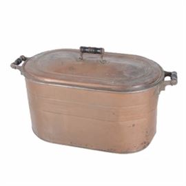 Vintage Rochester Copper Bin with Lid: A vintage Rochester large copper lidded bin. This lidded bin is made of copper and features two wooden handles on the body and a wooden top handle on the lid. It is marked on the bottom of the lid.