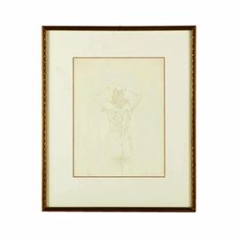 """James Morton Ink Drawing of a Figure Study: An figure study, believed to be an ink drawing on paper, by an artist signing and dating the work """"James Morton 1971."""" This work depicts the nude subject from behind, their arms raised to their head. The lightly-rendered piece is signed toward its lower edge and is matted behind glass in a wooden frame with a gold tone finish and a wire for hanging to its verso."""