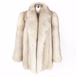 "Women's Vintage Bill Blass Furs Fox Fur Coat: A women's vintage Bill Blass Furs fox fur coat with a shawl collar and an off white fabric lining. It is labeled to the interior, ""Bill Blass Furs""."