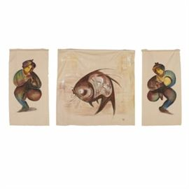 """Jacqueline Saporiti Oil Paintings of Figures and a Fish: A collection of oil paintings on loose canvas of men and a fish by Vietnamese-born artist Jacqueline Saporiti. These three pieces are each rendered with a dark reddish palette and depict a catfish dancing men, one of whom appears to play a flute. All three are signed with the artist's """"J.S."""" monogram toward their lower right corners and are presented unframed."""