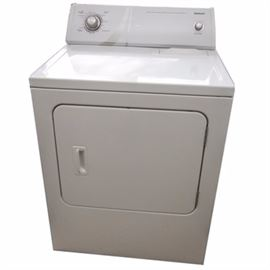 Admiral Dryer: An Admiral dryer, model number AED4475TQ1. This model features a white finish with front loading door, adjustable drying settings including 5 cycles and 3 temperature settings as well as a large capacity.