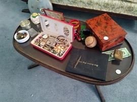 Costume Jewelry, Mahogany Coffee Table