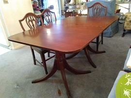 Duncan Phyfe Mahogany Table with 5 chairs