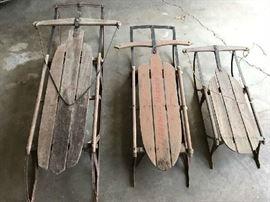 antique wooden sleds