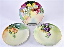Lot 4: 	Trio Hand Painted Fruit Plates
