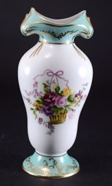 Lot 1: 	Limoges Porcelain Floral Vase Trimmed in Gold