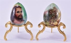 Lot 10:H. Vavra Hand Painted Eggs on Ornate Stands