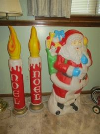 """vintage Santa and """"Noel"""" candle pair blow molds     (ATTACHED GARAGE)"""