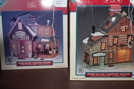 Porcelain Christmas Village houses and buildings