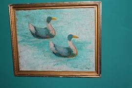 Duck painting (paint flakes) Toledo artist HE Bayer