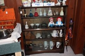 Collection of bells, Christmas items, porcelain china in sterling holder soups, picnic basket, silver serving pieces including siverplate trays