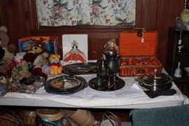 Stuffed animals (only ever displayed) Asian costume hand colored prints , silver-plate pitcher, lots of baskets