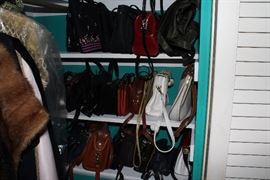 Purses and women's clothing and shoes