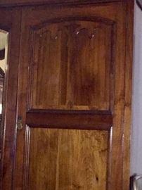 Close up of Walnut Edwardian 2 door wardrobe door.