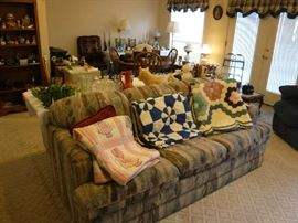 There excellent quilts that need a very little work. All priced below $100.  The couch is a sleeper and FREE to the first person that shows up for it! It is in great shape.