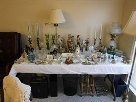 Some older pieces are on this table and a few clowns hoping for a new home.